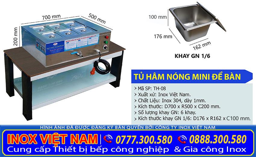 Thông số kỹ thuât và Kích thước tủ hâm nóng thức ăn mini để bàn | tủ giữ nóng để bàn | bàn hâm nóng thực phẩm | tủ giữ nóng để bàn