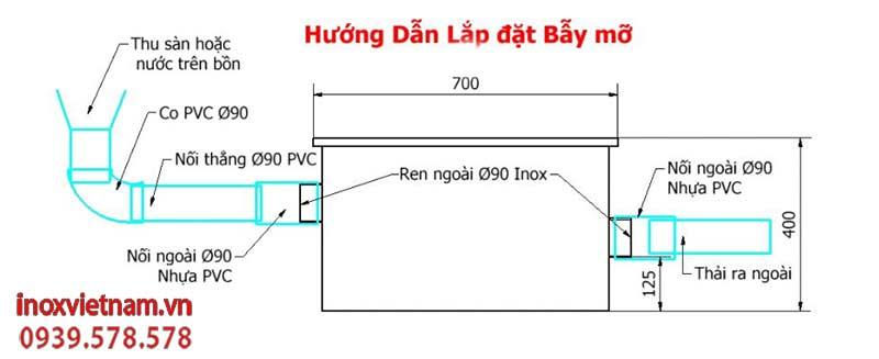 Sơ đồ lắp đặt bể tách mỡ inox, Bẫy tách mỡ| Bể tách mỡ công nghiệp sản xuất Inox Việt Nam.
