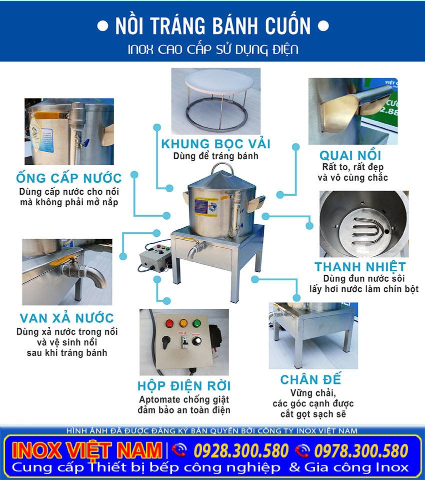 Cấu tạo Nồi nấu bánh tráng điện| Nồi điện hấp bánh tráng sản xuất Inox Việt Nam.