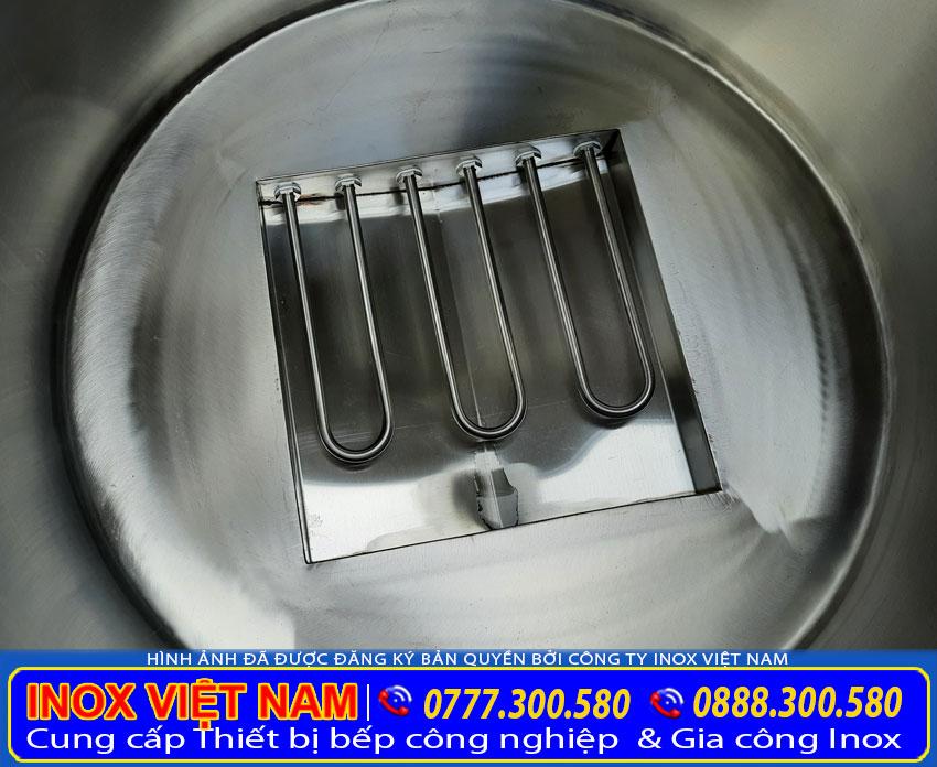 Thanh nhiệt nồi nấu phởbằng điện 100 lítsản xuất Bếp Inox Việt Nam.