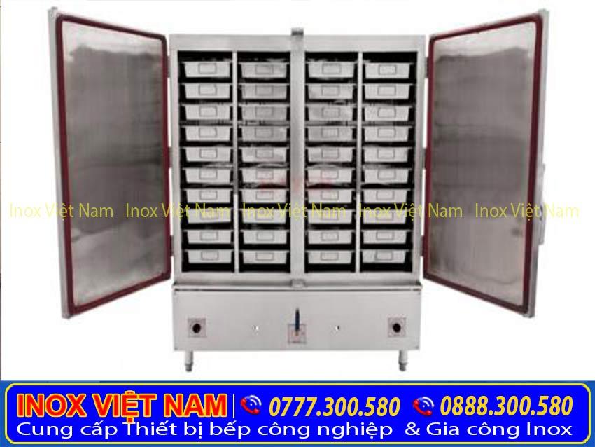 Tủ hấp cơm công nghiệp bằng gas và điện sản xuất Inox Việt Nam.