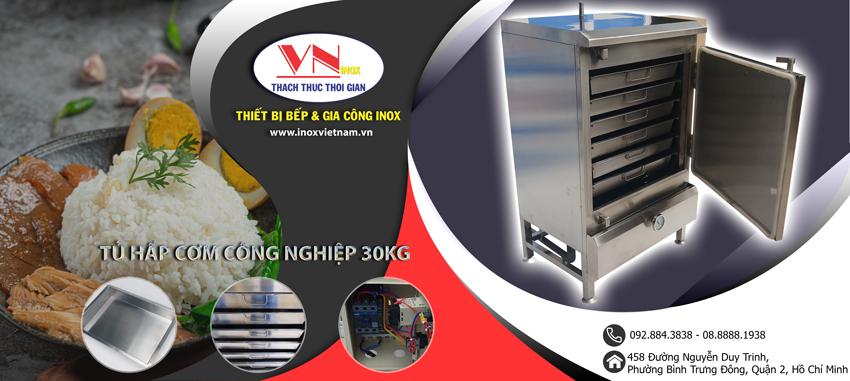 Mẫu tủ nấu cơm 30kg sử dụng điện và gas thiết kế chắc chắn và tiện lợi