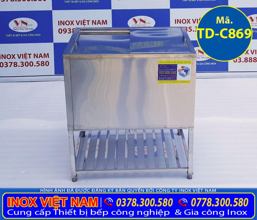 Mẫu thùng đá inox 304 có khung chân sản xuất theo đơn hàng hoặc kích thước mẫu có sẵn tại showroom.