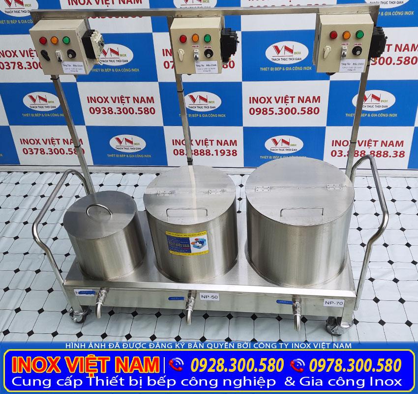 Bộ nồi điện nấu phở, nồi điện hầm xương, nồi điện trụng bánh inox 304 cao cấp sản xuất Bếp Inox Việt Nam.