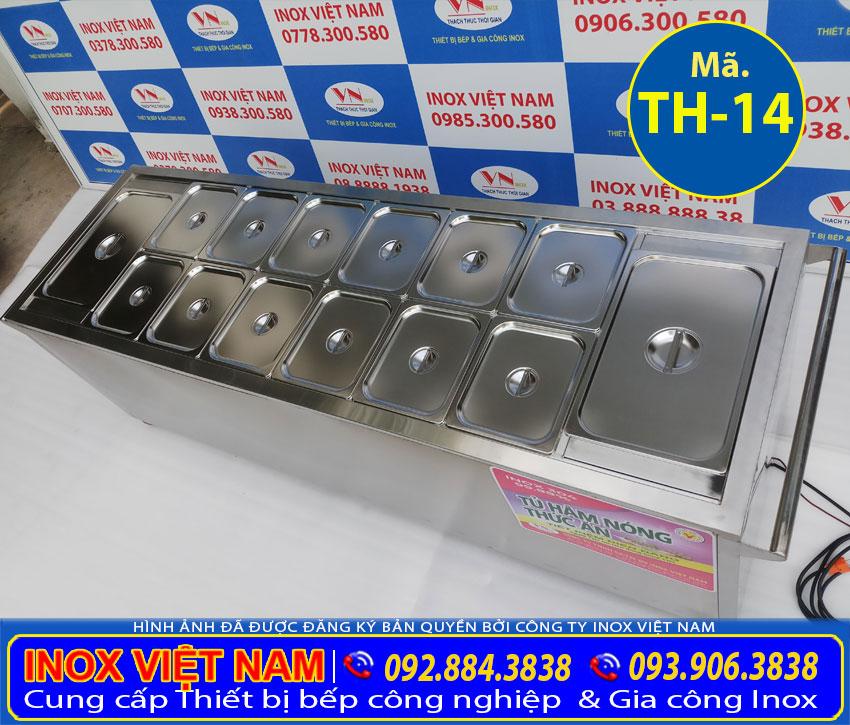 Khay GN của quầy hâm nóng thức ăn, tủ giữ nóng thức ăn 14 khay inox 304, có nắp đậy đảm bảo ăn toàn chất lượng.