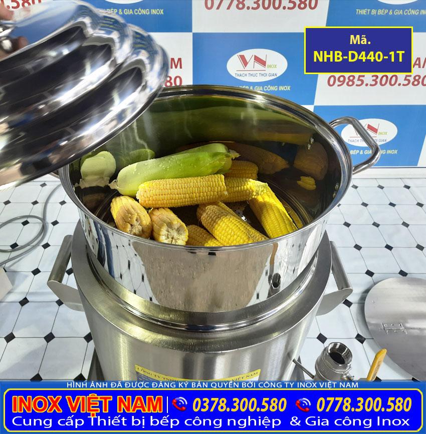 Kích thước tổng thể về nồi luộc bắp bằng điện, nồi điện luộc ngô 1 tầng NHB-D440-1T sản xuất Bếp Inox Việt Nam.