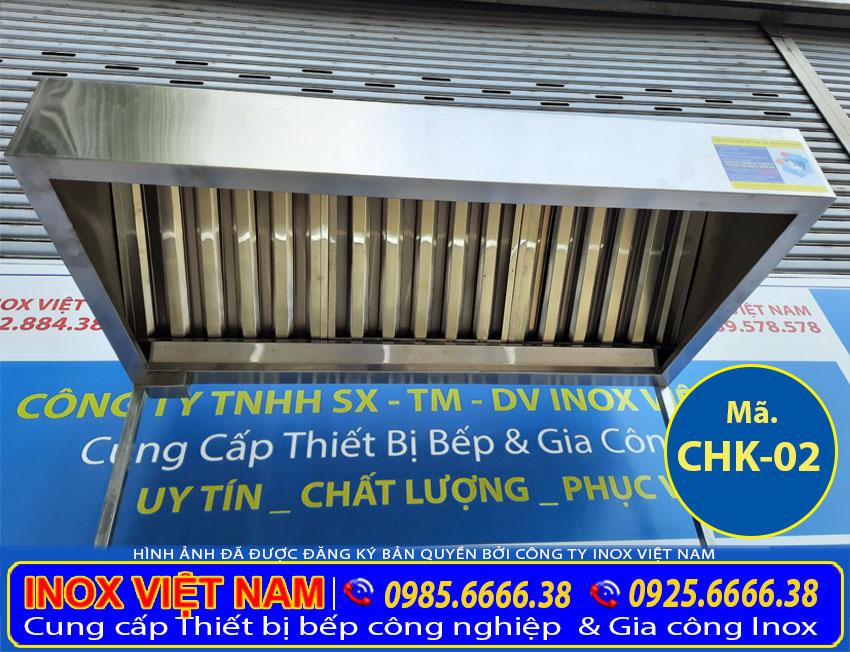 Hệ thống chụp hút khói công nghiệp, chụp hút khói nhà hàng, chụp hút mùi bếp gia đình sản xuất Bếp Inox Việt Cường Thịnh.