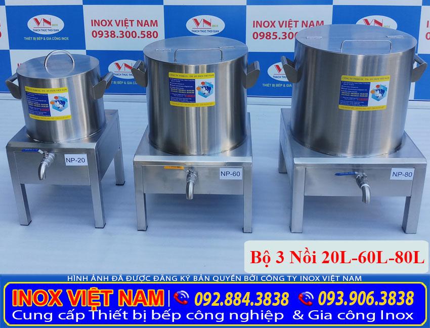 Bộ 3 nồi hầm xương bằng điện, nồi nấu hũ tiếu bằng điện, nồi điện nấu nước lèo sản xuất Bếp Inox Việt Nam.