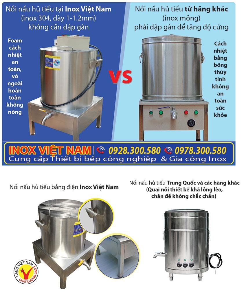 Nồi điện nấu hủ tiếu, nồi hầm xương bằng điện, nồi điện nấu nước lèo chất lượng cao sản xuất Bếp Inox Việt Nam.
