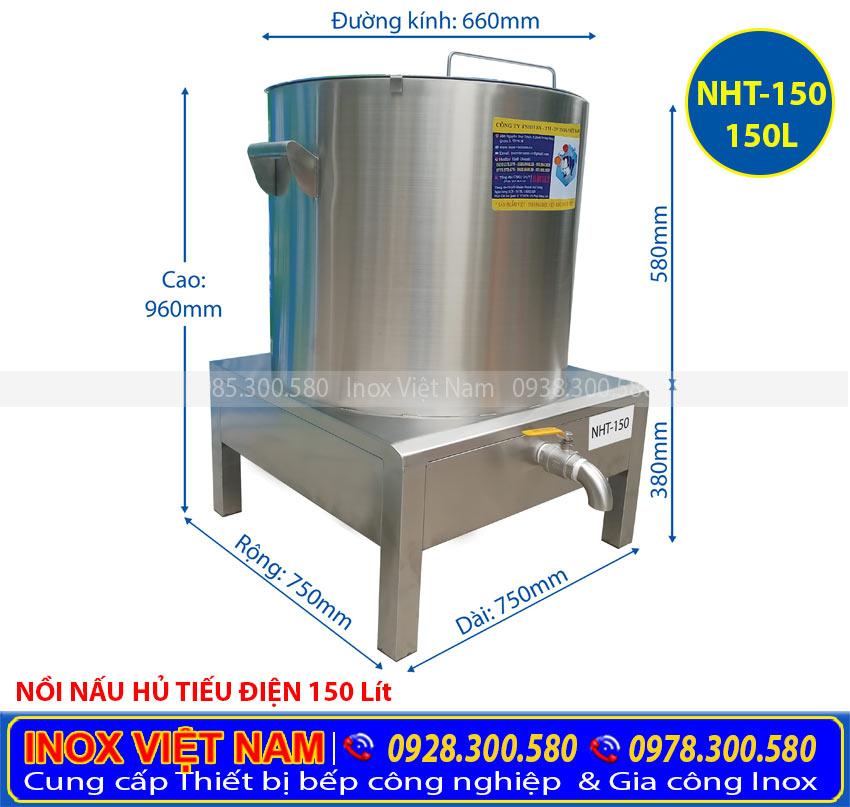 Kích thước của nồi nấu hủ tiếu bằng điện, nồi hầm xương bằng điện, nồi nấu nước lèo điện cao cấp sản xuất Bếp Inox Việt Nam.