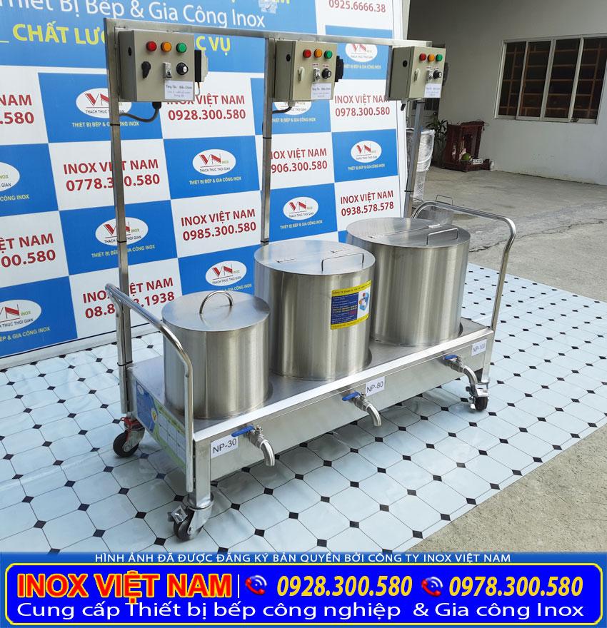Kích thước tổng thể về bộ 3 nồi nấu phở bằng điện 30 lít, 80 lít, 100 lít inox 304 cao cấp.