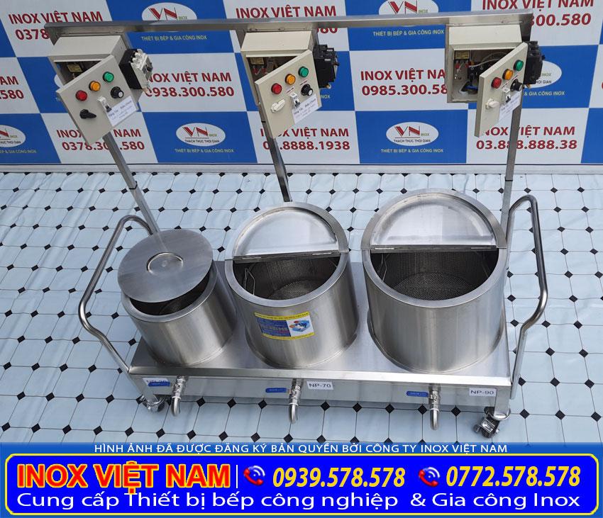 Bộ nồi nấu phở bằng điện sản xuất inox 304, có độ bền cao và chịu nhiệt tốt.