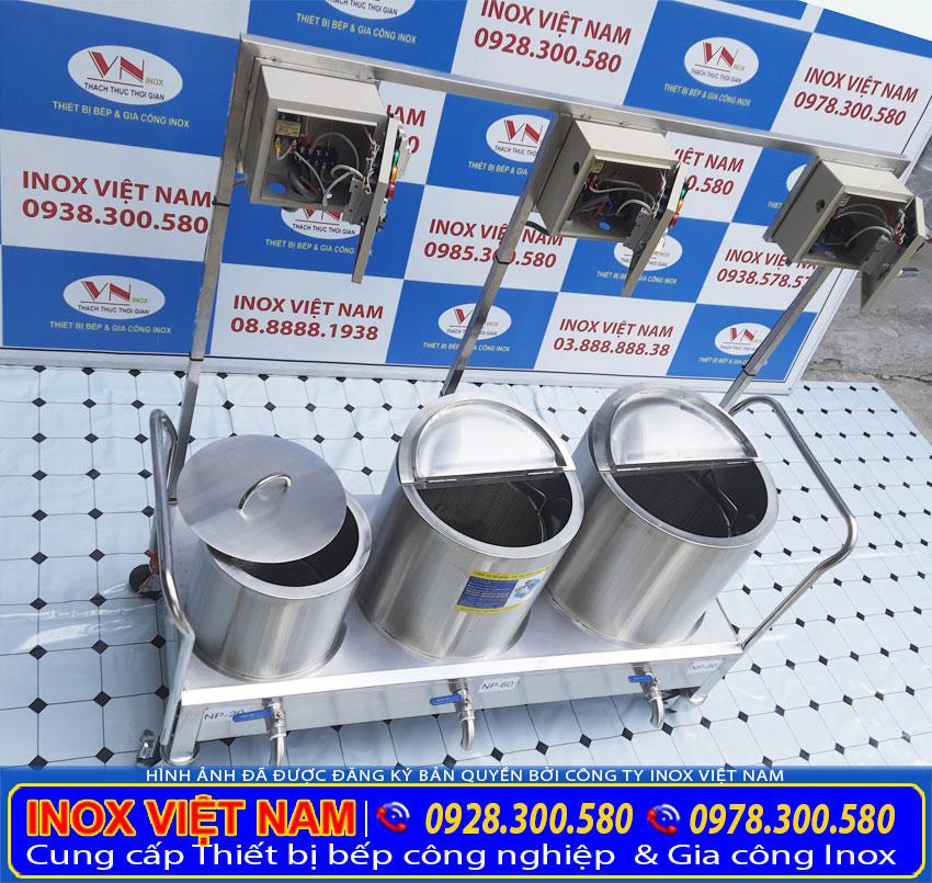Kích thước của bộ 3 nồi điện nấu phở 80L, nồi hầm xương 60L, nồi trụng bánh 20L inox sản xuất Bếp Inox Việt Nam.