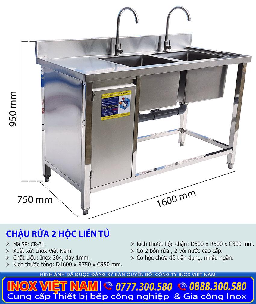 Kích thước Chậu rửa inox công nghiệp, Chậu Rửa 2 Hộc Liền Tủ Inox 304 CR-31