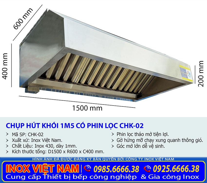 Kích thước tổng thể của hệ thống chụp hút khói gia đình, chụp hút mùi bếp gia đình dài 1m5 sản xuất Bếp Inox Việt Nam.
