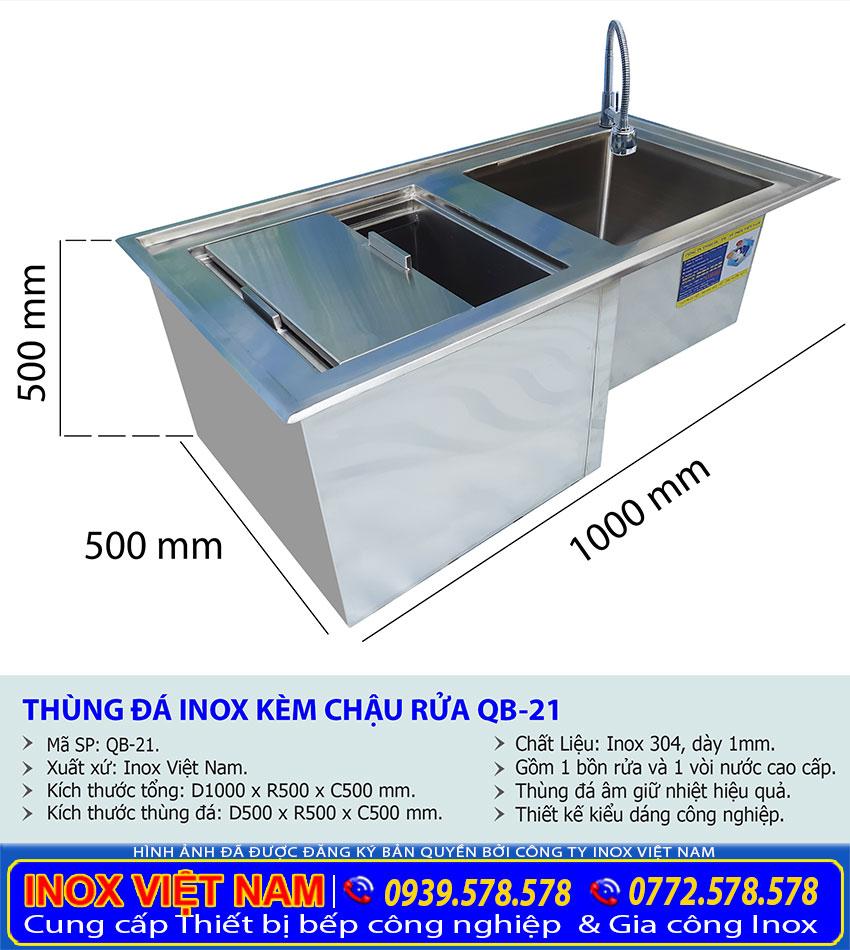 Kích thước về tủ đá inox, thùng đá inox kèm chậu rửa âm quầy bar QB-21 sản xuất Bếp Inox Việt Nam.