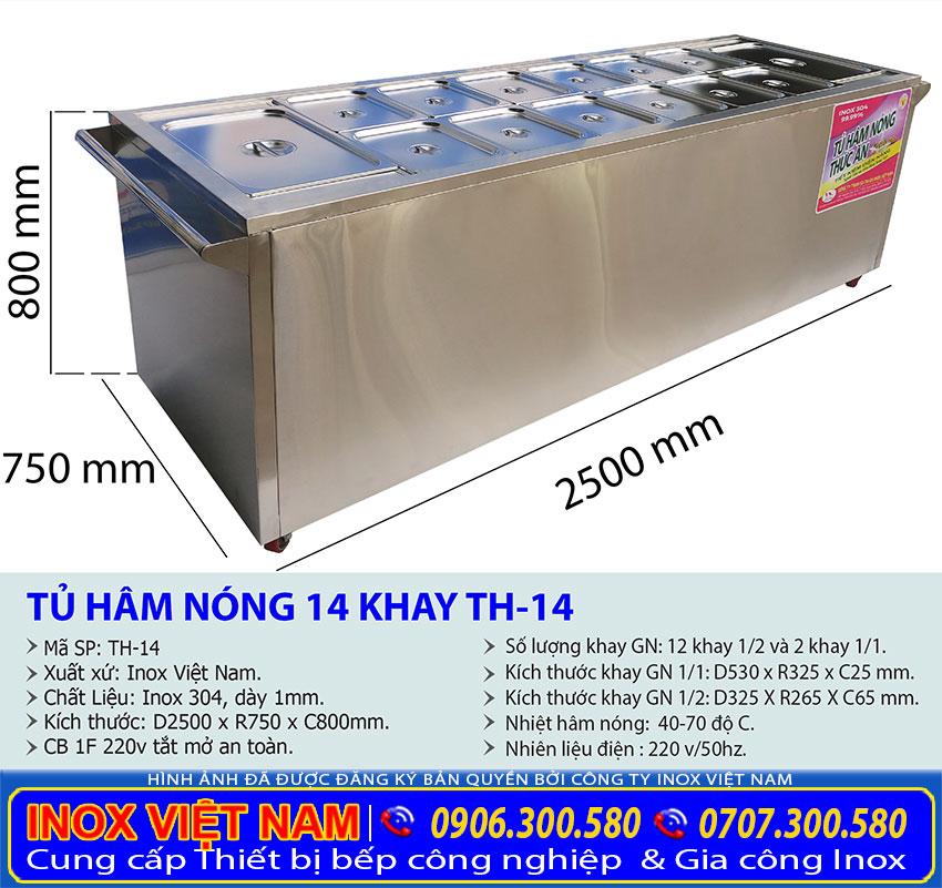 Kích thước của quầy giữ nóng thức ăn, xe hâm nóng thức ăn 14 khay TH-14 sản xuất Bếp Inox Việt Nam.
