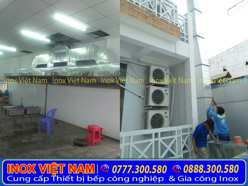 Thi công và lắp đặt hệ thống chụp hút khói inox công nghiệp, chuoj hút khói nhà hàng, chụp hút mùi bếp nhà hàng tại TPHCM.