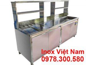 Bếp Inox Việt Nam sản xuất quầy pha chế trà sữa đẹp, thiết kế quầy bar trà sữa và giá quầy pha chế