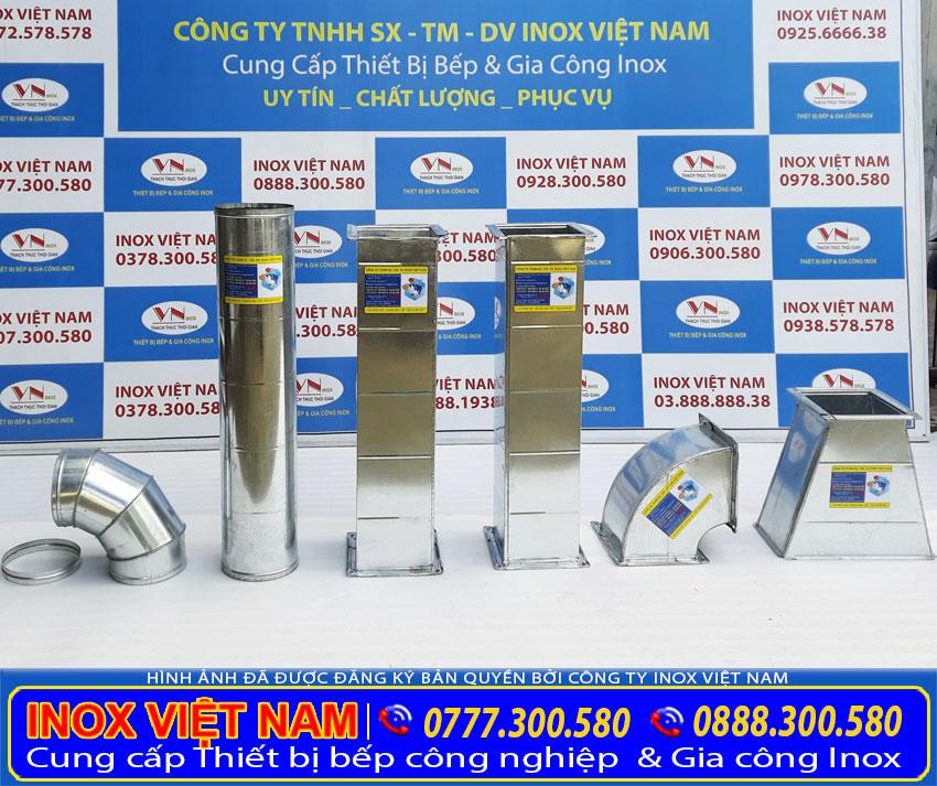 Đường ống hút khói của hệ thống chụp hút khói bếp công nghiệp inox cao cấp và sáng bóng.