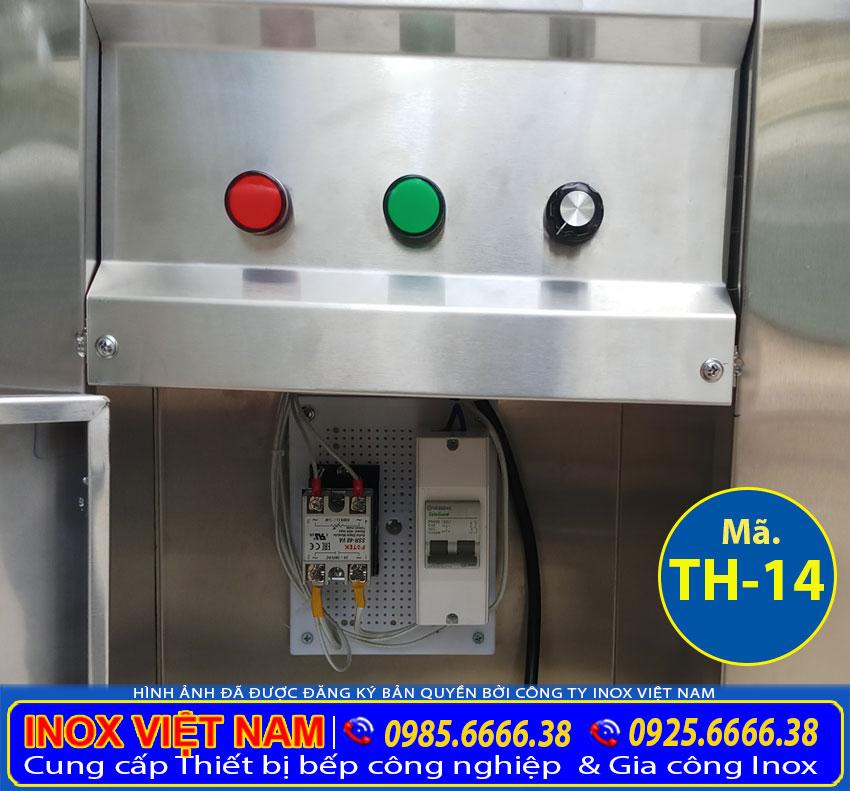 Hộp điều khiển của xe hâm giữ nóng thức ăn thiết kế an toàn và dễ dàng sử dụng.