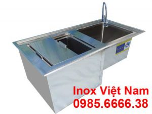 Bếp Inox Việt Nam sản xuất thùng đá inox kèm chậu rửa, quầy pha chế trà sữa đẹp, thiết kế quầy bar trà sữa và giá quầy pha chế