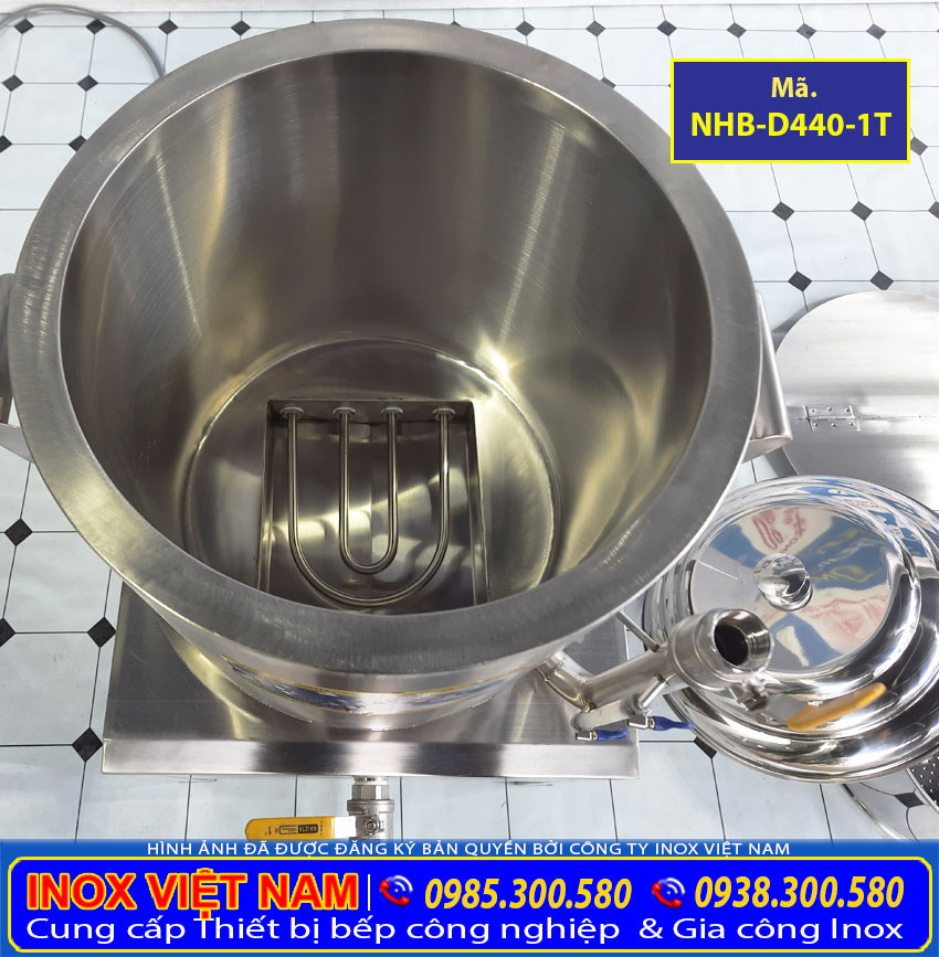 Các bộ phận của nồi luộc bắp bằng điện, nồi điện nấu ngô, nồi điện luộc măng sản xuất Bếp Inox Việt Nam.