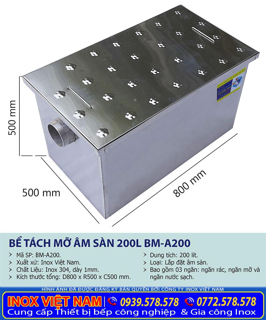 Kích thước hộp lọc mỡ inox, bể tách mỡ inox công nghiệp âm sàn 300 lít BM-A300