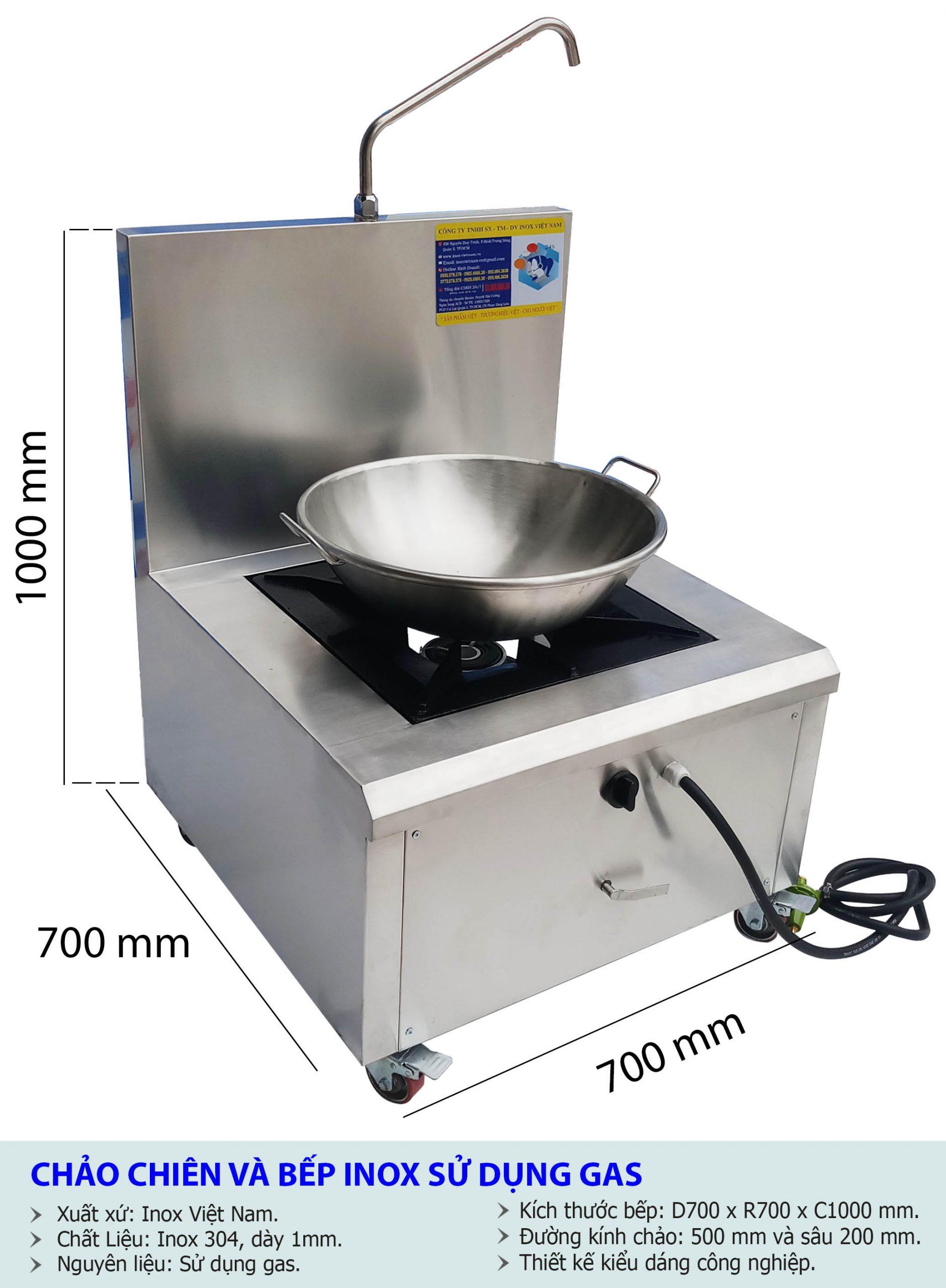Kích thước bộ chảo chống dính inox 304 và bếp inox sử dụng gas cao cấp.