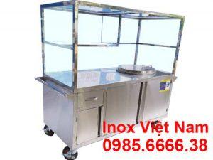 Quầy bán phở inox, xe bán phở inox, tủ bán phở inox tích hợp nồi nấu nước lèo bằng điện inox sản xuất Bếp Inox Việt Nam.