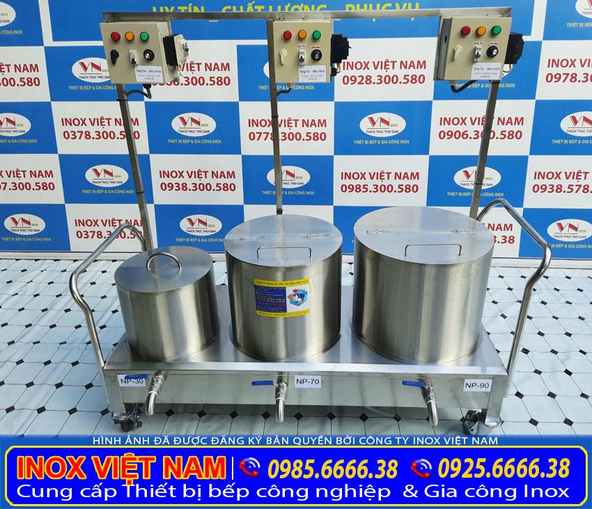 Bộ nồi nấu nước lèo hủ tiếu bằng điện, nồi hầm xương bằng điện, nồi trụng bánh sản xuất Bếp Inox Việt Nam.