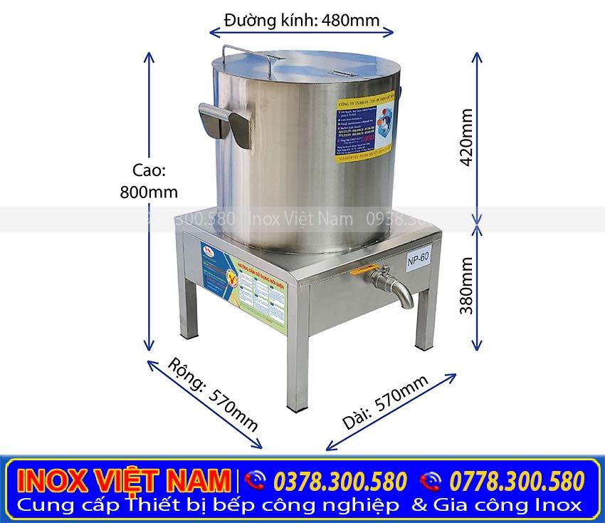 Kích thước tổng thể nồi nấu hủ tiếu bằng điện, nồi nấu phở bằng điện, nồi hầm xương bằng điện 60 lít.
