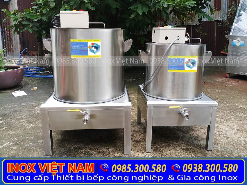 Nồi nấu nước lèo hủ tiếu bằng điện, nồi hầm xương bằng điện, nồi nấu phở bằng điện sản xuất Bếp Inox Việt Nam.
