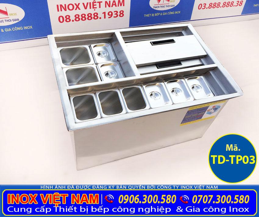 Mẫu thùng đá âm bàn có khay topping | Tủ đá mini âm bàn TD-TP03