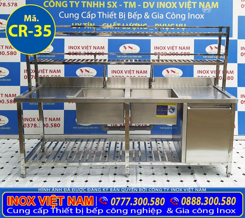 Chậu rửa công nghiệp 2 ngăn | Bồn rửa công nghiệp 2 ngăn sản xuất Bếp Inox Việt Nam.