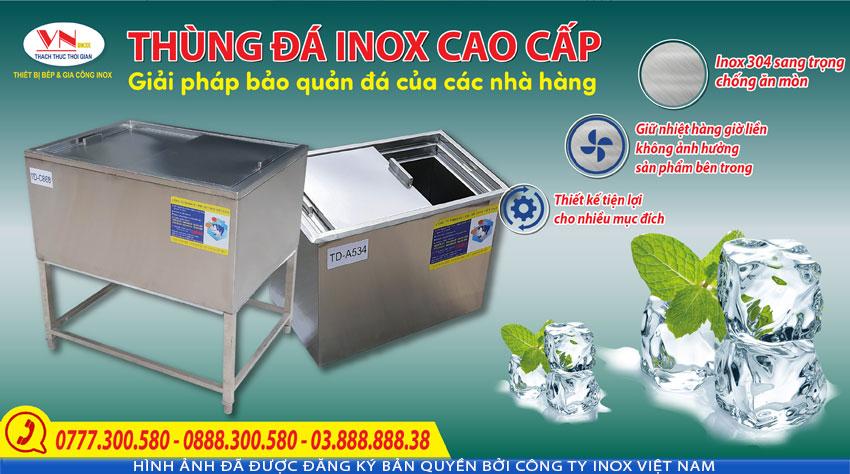 Thùng đá inox, thùng chứa đá inox, thiết bị giữ nhiệt inox