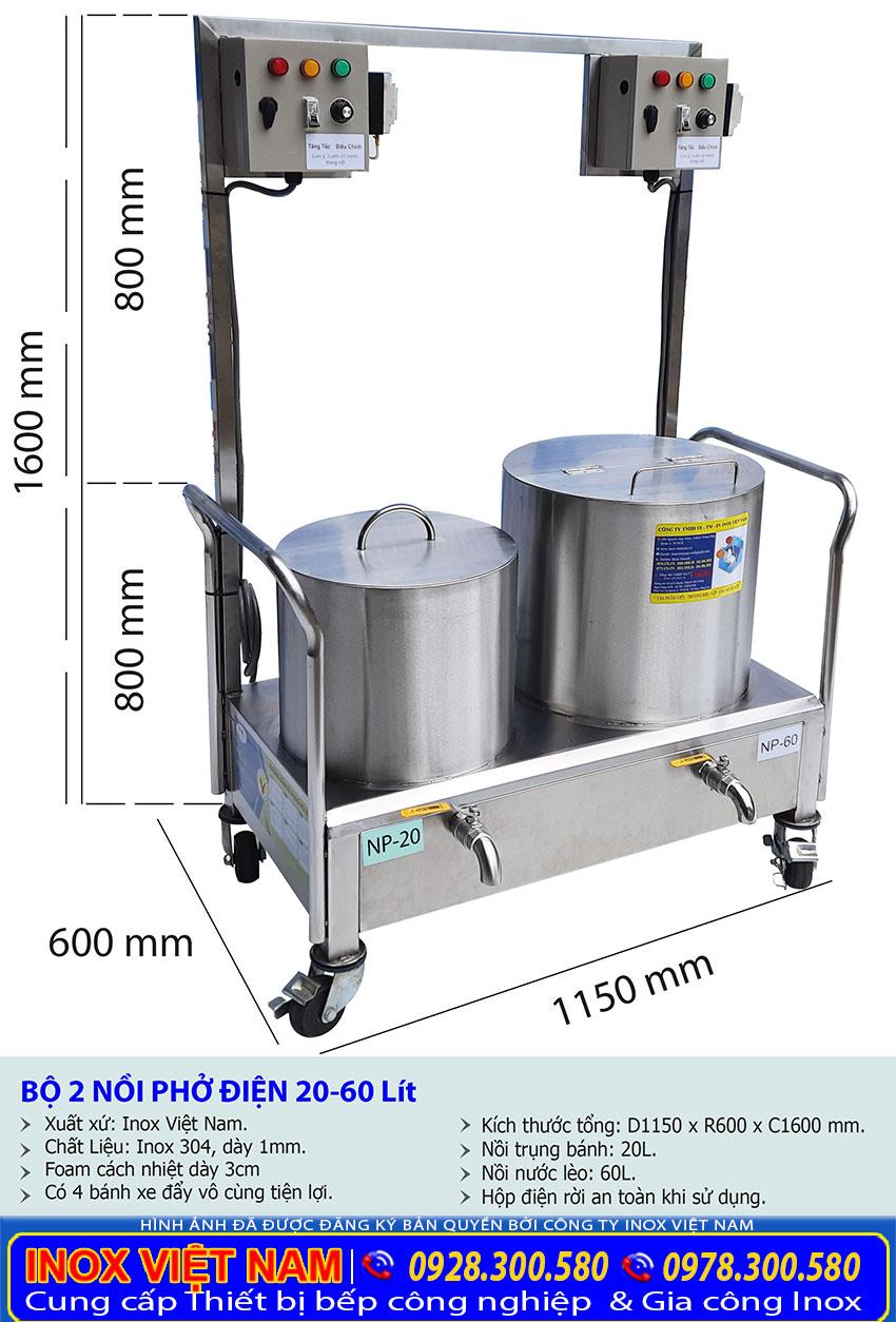 Kích thước về bộ nồi nấu phở bằng điện 20 lít - 60 lít.