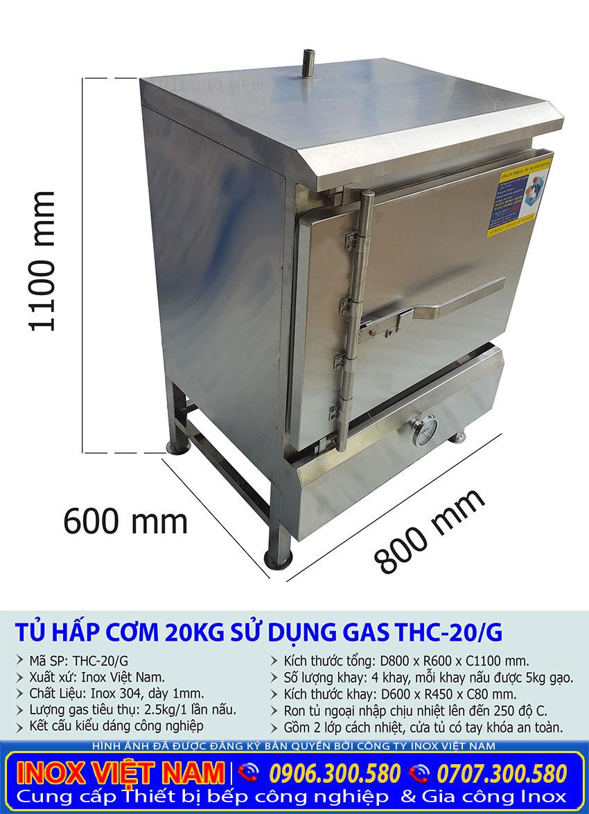 Kích thước tổng thể của tủ hấp cơm, tủ nấu cơm công nghiệp 20 kg bằng gas.