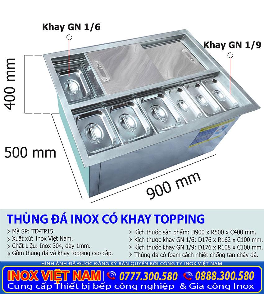 Kích thước thùng đá inox  âm bàn có khay topping | Tủ đá inox âm bàn có khay topping.