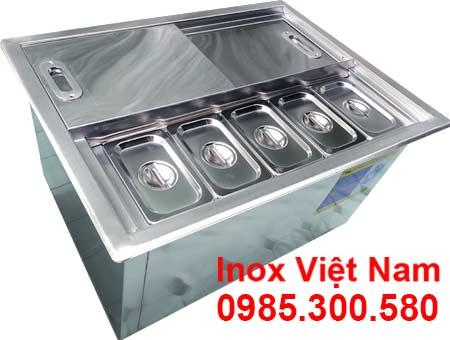 Mẫu thùng đá inox âm bàn kèm khay topping | Tủ đá inox âm bàn kèm khay topping.