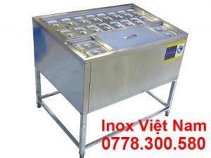 Mẫu thùng đá inox có chân kèm khay topping | Thùng chứa đá inox | Tủ đá inox có khay topping.