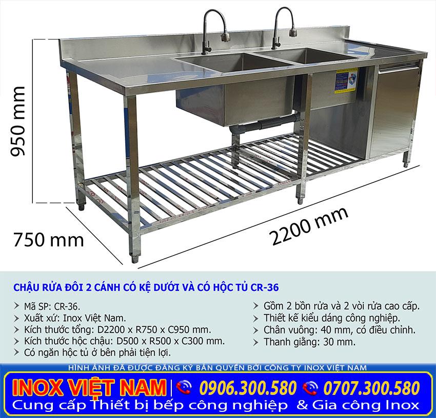 Kích thước về chậu rửa chén công nghiệp | bồn rửa chén công nghiệp inox | chậu rửa bát công nghiệp 2 ngăn có tủ, bàn rửa và kệ bếp.
