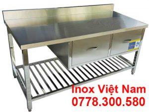 Bàn bếp inox, bàn sở chế inox, bàn chặt inox có tủ và gáy BA-21