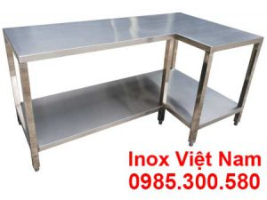 Bàn bếp inox, Bàn sơ chế inox, bàn góc L inox.