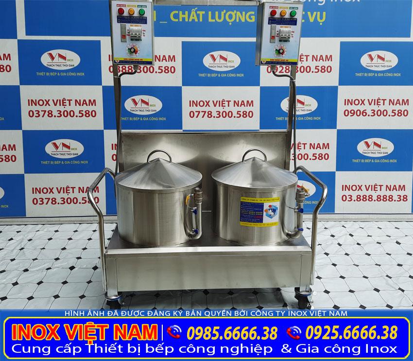 Mẫu bộ nồi tráng bánh cuốn bằng điện, nồi hấp bánh ướt bằng điện sản xuất Bếp Inox Việt Nam.