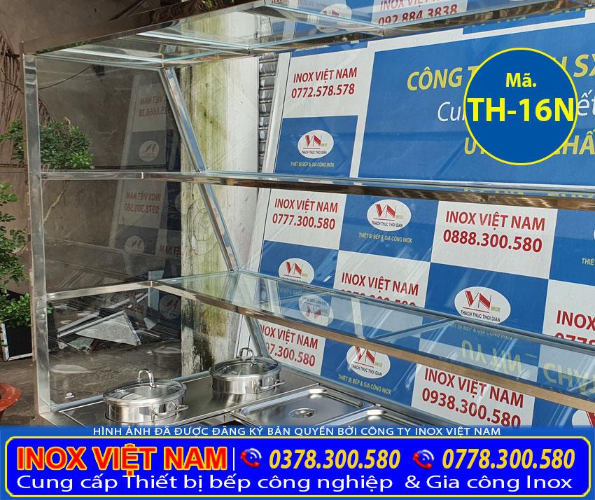 Tủ giữ nóng thức ăn, quầy hâm nóng thức ăn thiết kế khung kính chắc chắn và an toàn.