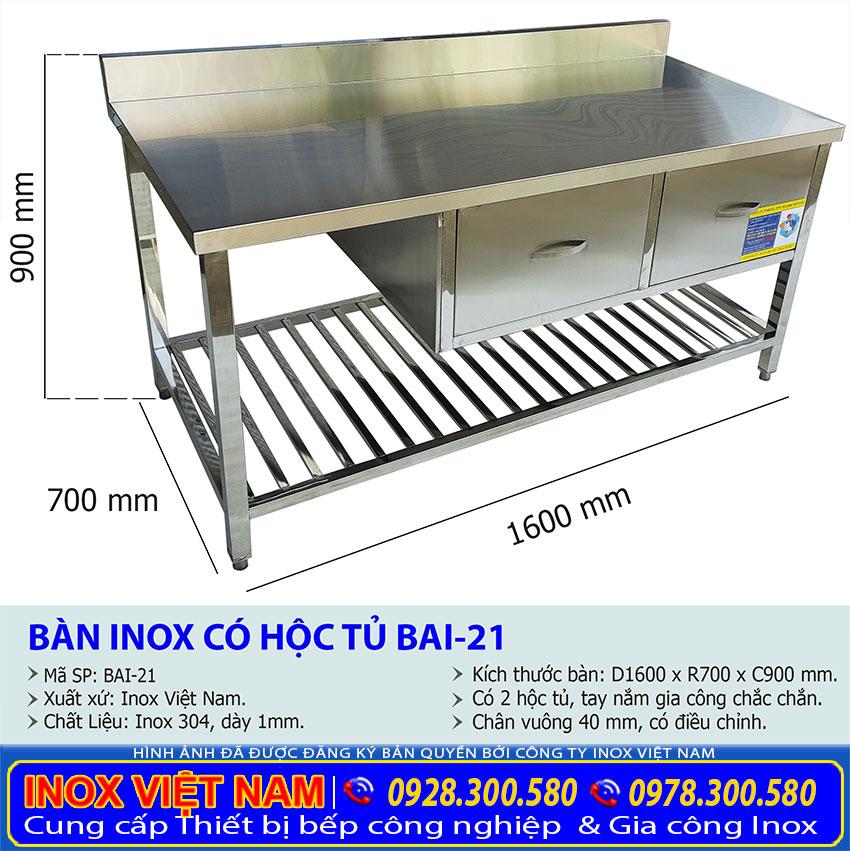 Kích thước của bàn bếp inox có hộc tủ và gáy BA-21