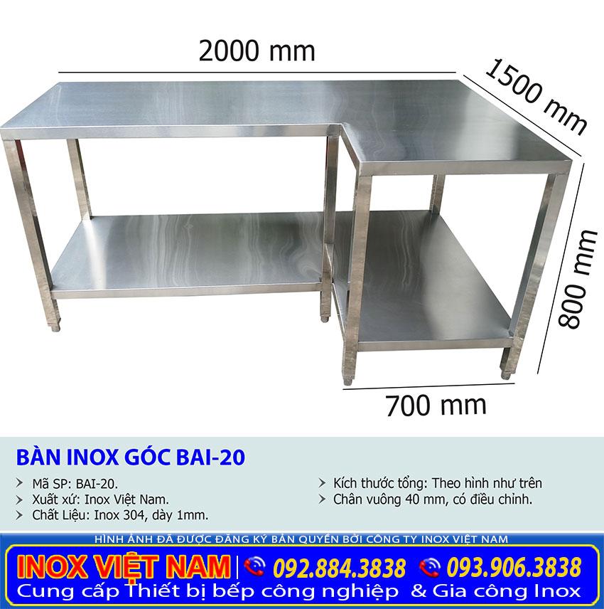 Kích thước tổng quan về bàn bếp inox 1 tầng góc chữ L BA-20