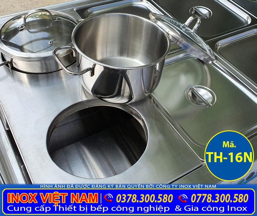 Nồi inox tích hợp trong tủ hâm nóng thức ăn, quầy hâm nóng thức ăn.