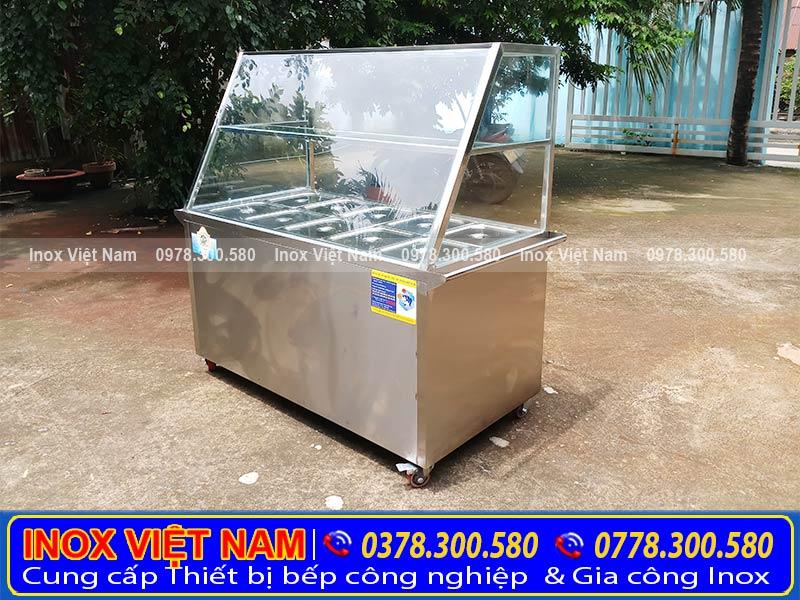 Tủ hâm nóng thức ăn tại Inox Việt Nam luôn đạt chất lượng cao. Tủ bán cơm hâm nóng   tủ giữ nóng thức ăn 10 khay.